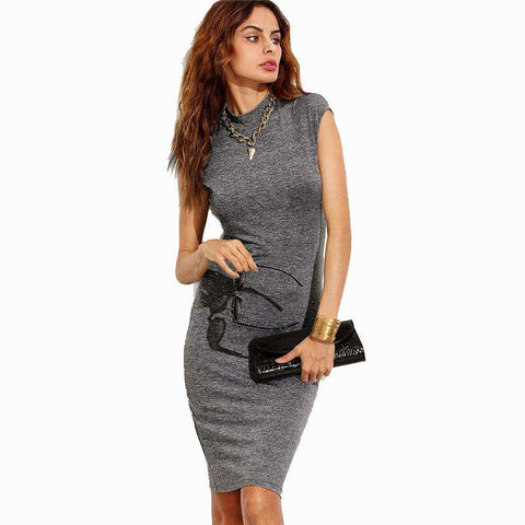 Grey Cap Sleeve Form Fitting Knit Dress