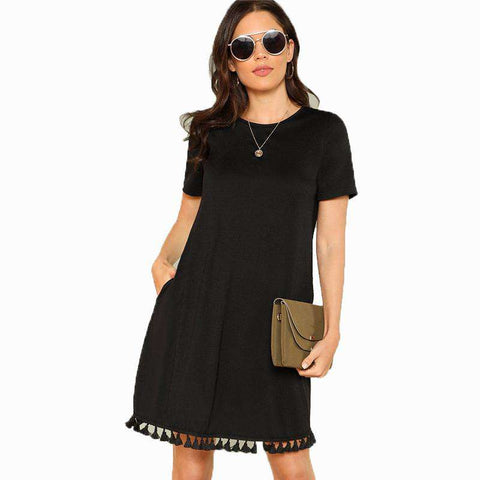 Tassel Short Sleeve Short Black Dress