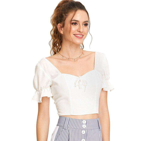 White Short Sleeve Knot Front Ruffle Sleeve Slim Fit Smocked Backless Blouse Top