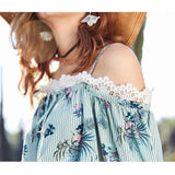 Lace Stitching Slash Neck Print Chiffon Loose Top