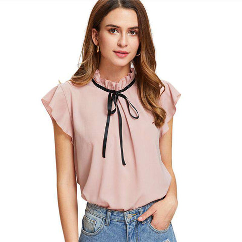 Bow Tied Frilled Neck Button Stand Collar Cap Sleeve Ruffle Preppy Blouse Top