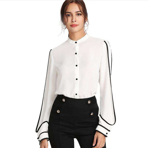 White Stand Collar Long Sleeve Button Black Striped Blouse Shirt Top