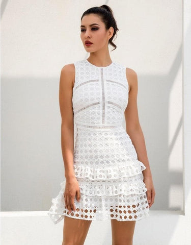 White Round Neck Lace Stitching Geometric Figure Lace Dress