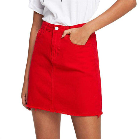 Frayed Hem Pockets Red Ripped Mid Waist A Line Basic Mini Skirt
