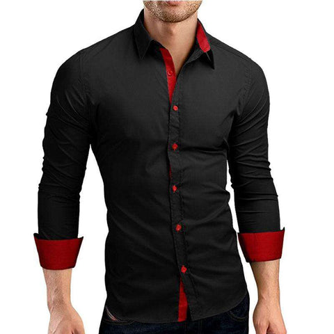 Single Breasted Turn-down Collar Long Sleeve Slim Fit Black Shirts