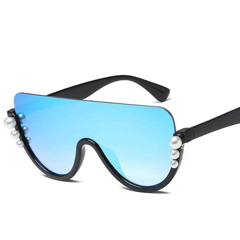 One-piece Lens Pearl Trendy Designer UV400 Sunglasses