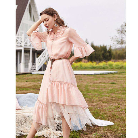 Pink Ruffled Petal Sleeves Irregular Hem Long Shirt