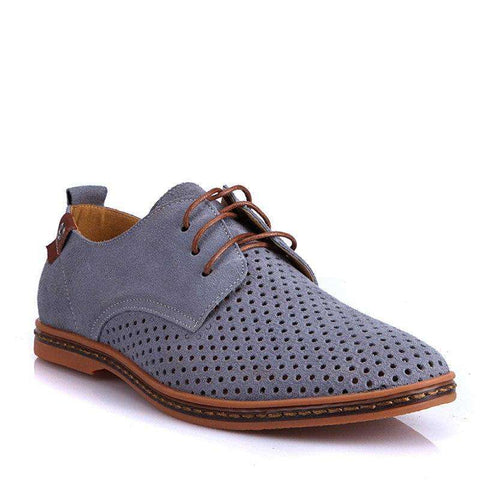 Suede Breathable Lace Up Genuine Leather Shoes