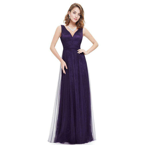 Blue V-neck Ruched Long Dress Gown