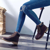 PU Leather Square heel Lace-Up Round Toe Ankle Boots