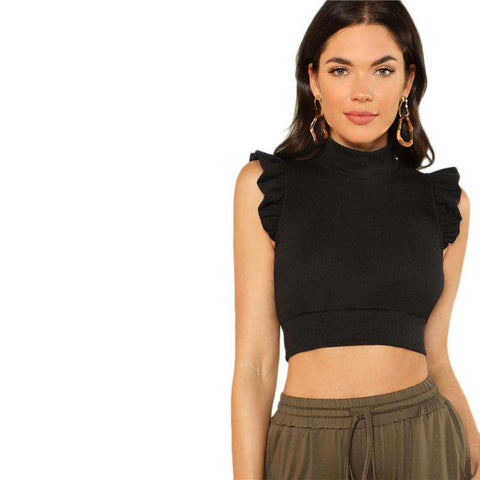 Black Stand Collar Mock Neck Ruffle Armhole Skinny Crop Top Vest