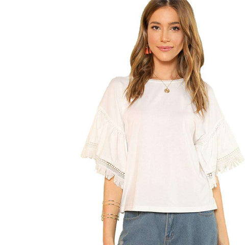 White O Neck Contrast Lace Fringe Detail Bell Sleeve Solid Stretchy Top