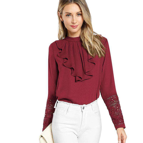 Burgundy Ruffle Pleated Contrast Lace Button Stand Collar Long Sleeve Blouse Shirt Top