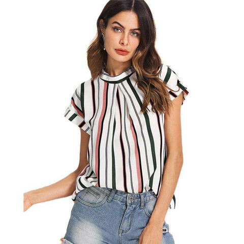 Striped Multicolour Fold Pleat Front Short Sleeve Blouse Top