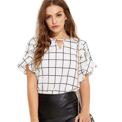 Plaid Keyhole Neck Short Sleeve Grid Blouse Top