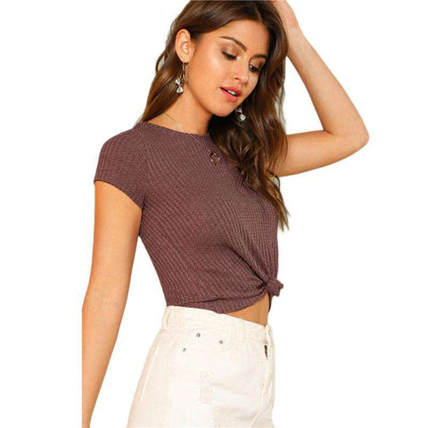 Knot Hem Purple Cotton Cap Sleeve Round Neck Stretchy Crop Top
