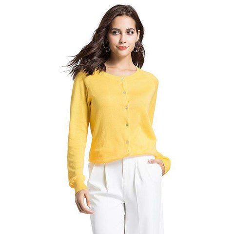 Knitted Single-Breasted O-Neck Style Buttoned Sweaters Cardigans