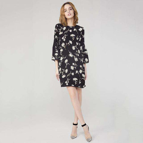 100% Silk Print O-Neck Three Quarter Puff sleeve Dress