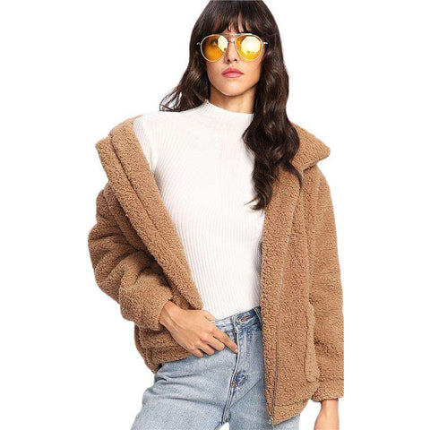 Dual Pocket Faux Fur Khaki Zipper Collar Long Sleeve Preppy Jacket