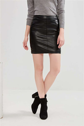 Faux Leather Black Elastic Pencil Skirts