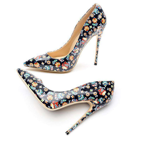 Dot Pattern Thin High Heels Cartoon Pictures Shoes