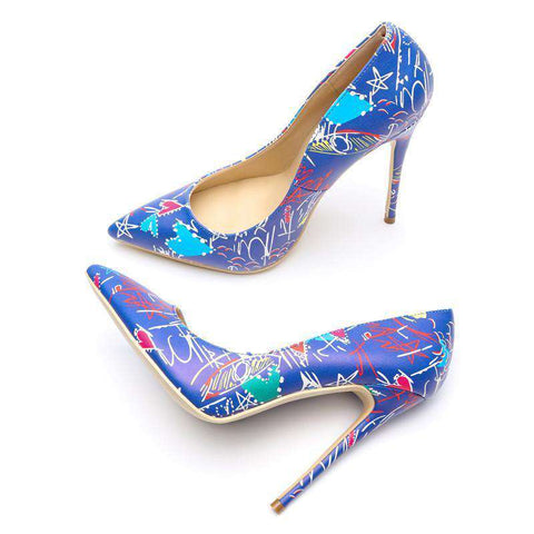 Blue Graffiti Shoes Slip On Microfiber Heels