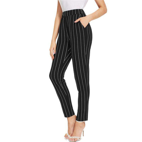 Elastic Waist Pinstripe Black Mid Waist Tapered Carrot Cigarette Pants