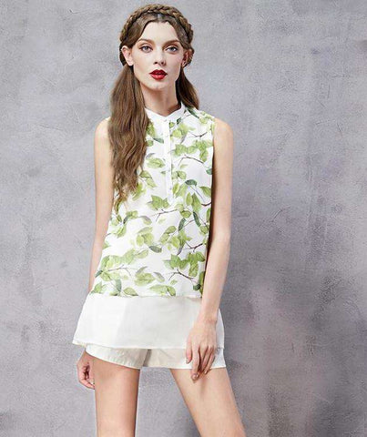 Patchwork Printed Stand Collar Sleeveless All-match Twin-set Chiffon Shirt Top
