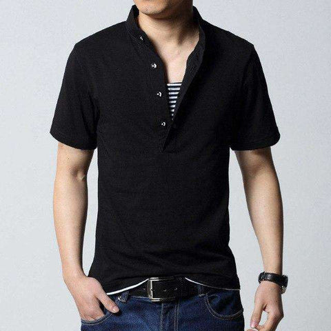 Black Stand Collar Cotton Casual Slim Fit Tee Tshirt Top
