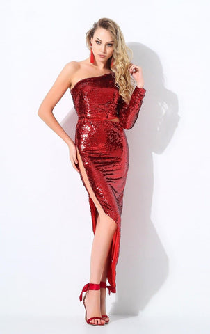 Red Shoulder Mesh Splicing Party Dress
