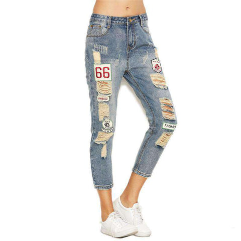 Blue Distressed Ripped Embroidered Patch Ankle  Fall Button Fly Cropped Mid Waist Jeans