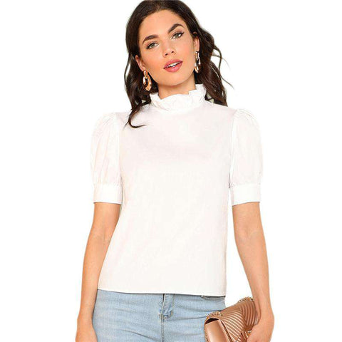 Layered Ruffle Stand Collar Short Sleeve Preppy White Blouse Tunic Top