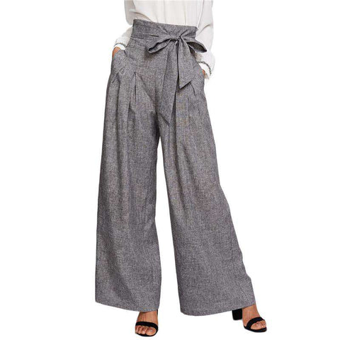 Wide Leg Zipper Fly Loose Grey High Waist Self Belted Box Pleated Palazzo Pants
