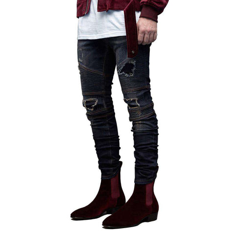 Ripped Biker Skinny Destroyed Distressed Pencil Jeans