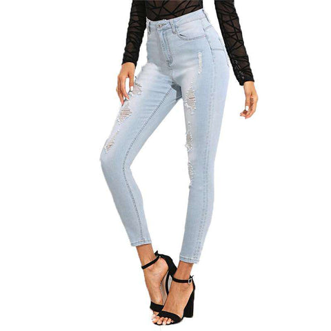 Bleach Wash Blue Mid Waist Crop Pocket Ripped Denim Jeans