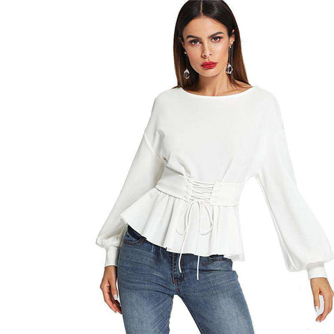 Beige Long Lantern Sleeve Corset Belt Pleated Hem Tops