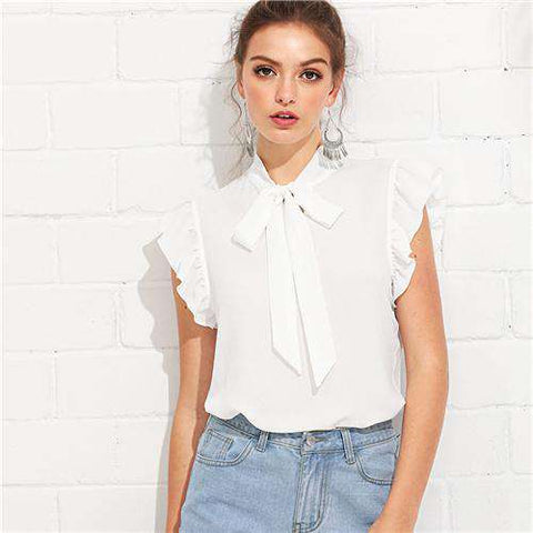 White Flounce Shoulder Tied Neck Stand Collar Ruffle Blouse Shirt Top