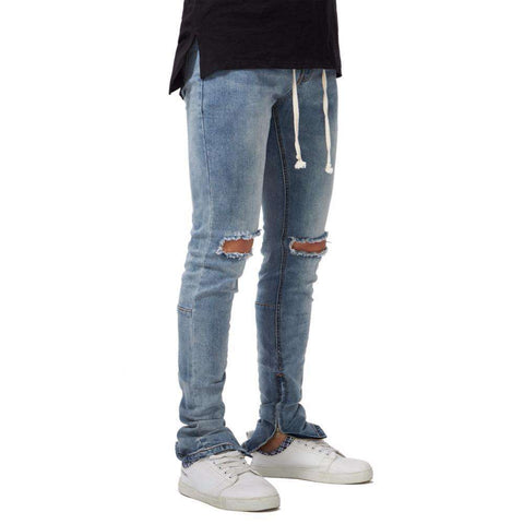 Side Ankle Zipper Ripped Elastic Stretch Skinny Hole Pencil Jeans