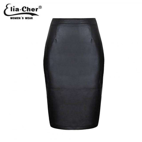 Faux Leather PU Black Zipper Pencil Skirt