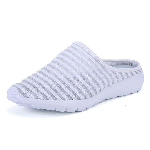 Soft Breathable White Slides Flip Flops Mesh Shoes