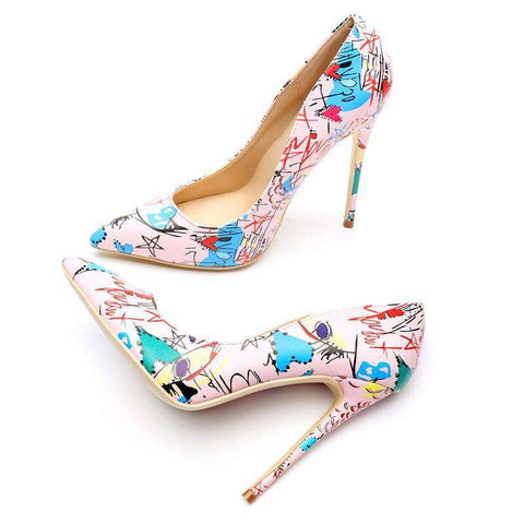 Style Pink Graffiti Matte High Heels Pointed Toe Pumps Sandals