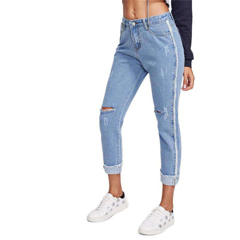 Knee Rips Rolled Hem Blue Button Fly Mid Waist Denim Pants Jeans