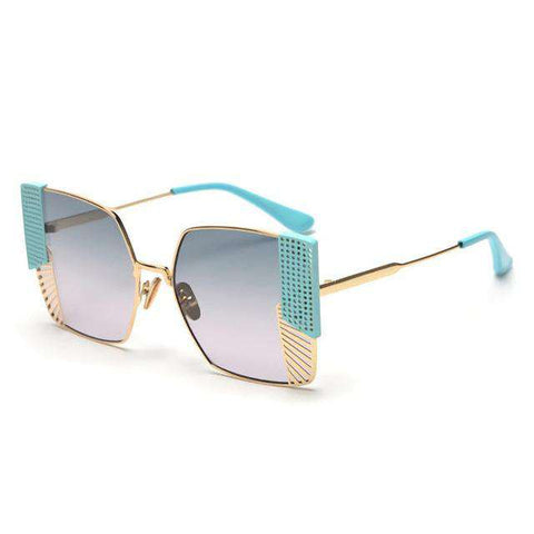 Square Designer Metal Eyebrows Oversized Sunglasses UV400