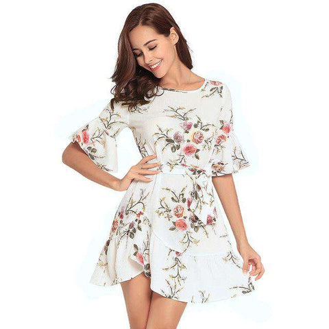 Floral Print Mini Short Flare Sleeve O-neck Loose Shirt Dress
