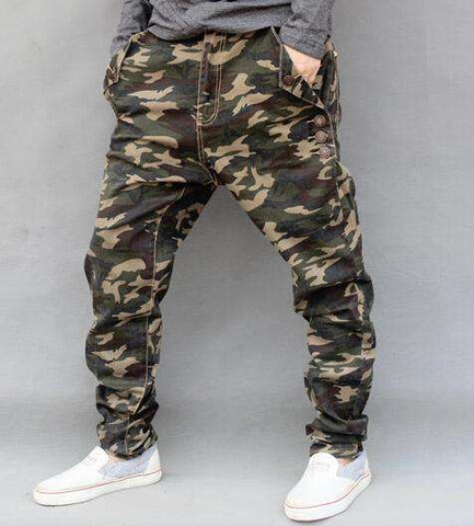 High Quality Hip Hop Camouflage Harem Drop Crotch Jeans