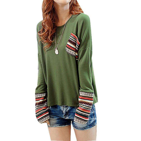 Long Puff Sleeve Cotton O Neck  Oversize Sweatshirt Pullover