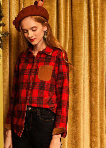 Preppy Style Cotton All-match Pockets Slim Plaid Blouse Top