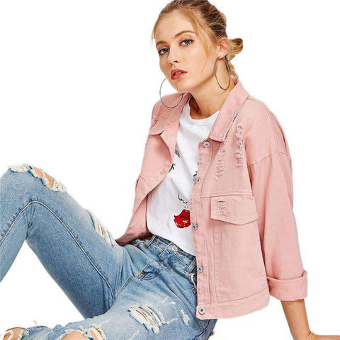Pink Single Breasted Ripped Long Sleeve Denim Jacket