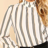 White Striped Stand Collar Long Sleeve Regular Fit Top