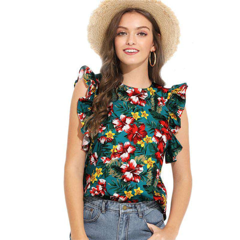 MulticolourBohemian Floral Print Ruffle Armhole Tropical Blouse Top